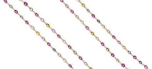 An 18 Karat Rose Gold and Multi Color Sapphire Longchain Necklace, 11.40 dwts.
