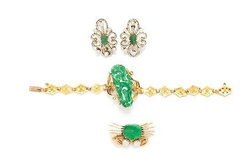 * A Collection of High Karat Yellow Gold, Gilt Metal, Jade and Cultured Pearl Jewelry, 19.60 dwts.