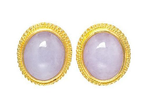A Pair of 24 Karat Yellow Gold and Lavender Jade Earrings, 3.80 dwts.