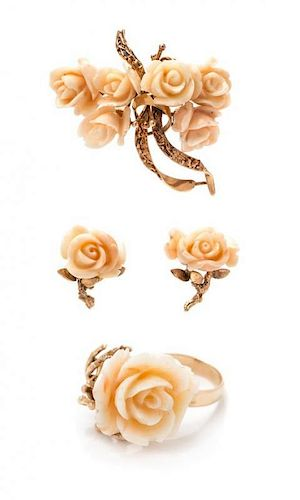 * A Collection of 18 Karat Rose Gold and Angel Skin Coral Rose Motif Jewelry, 25.00 dwts.