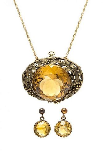 A Collection of Victorian Yellow Gold and Citrine Jewelry, 27.80 dwts.