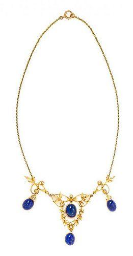 An Art Nouveau Yellow Gold and Lapis Lazuli Swag Necklace, 8.80 dtws