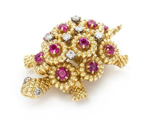 An 18 Karat Yellow Gold, Ruby and Diamond Turtle Brooch, 15.60 dwts.