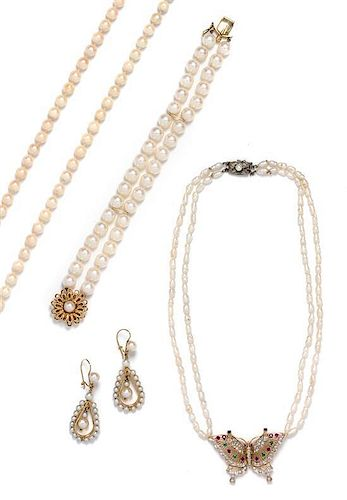 * A Collection of Yellow Gold, Cultured Pearl and Multigem Jewelry,