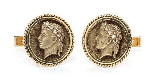 A Pair of 14 Karat Yellow Gold and Diamond Cufflinks, 9.70 dwts.