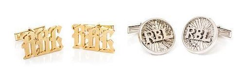 A Collection of 18 Karat Gold Cufflinks, 17.50 dwts.