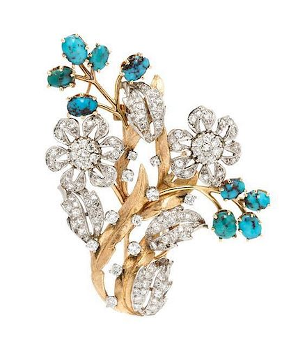 A 14 Karat Bicolor Gold, Diamond and Turquoise Floral Motif Brooch, 15.20 dwts.