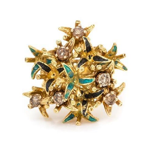 A Yellow Gold, Colored Diamond and Polychrome Enamel Ring, 7.80 dwts.