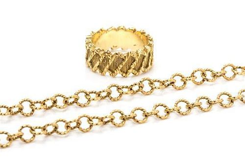 A Collection of 18 Karat Yellow Gold Textured Jewelry, 20.60 dwts.