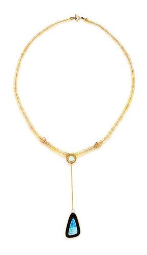 A 14 Karat Yellow Gold, Opal, Onyx and Diamond Lavalier Necklace, 7.90 dwts.