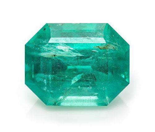 A 1.97 Carat Octagonal Step Cut Emerald,