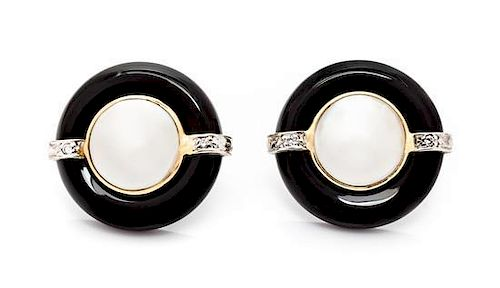 A Pair of 14 Karat Gold, Onyx, Mabe Pearl and Diamond Earrings, 4.70 dwts.
