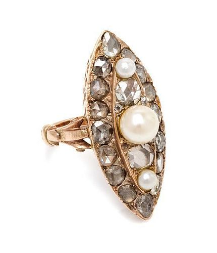 * A Rose Gold, Pearl and Diamond Ring, 5.30 dwts.