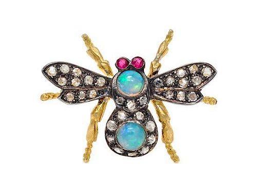 A Gilt Silver, Opal, Diamond, Ruby Bug Brooch, 1.60 dwts.