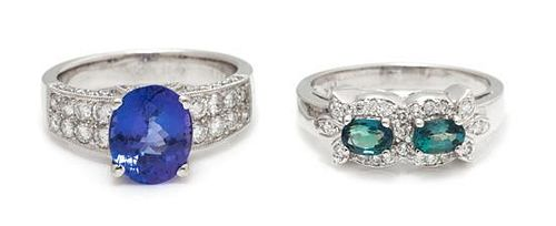 A Collection of White Gold Tanzanite, Alexandrite and Diamond Rings, 6.70 dwts.