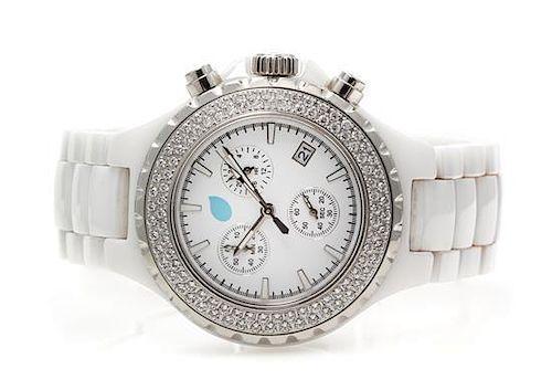A Ceramic, Stainless Steel and Swarovski Crystal Chronograph Wristwatch, Tamara Comolli,