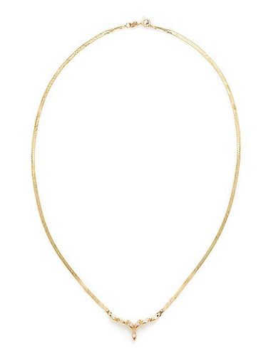 A Collection of 14 Karat Yellow Gold and Diamond Necklaces, 11.50 dwts.