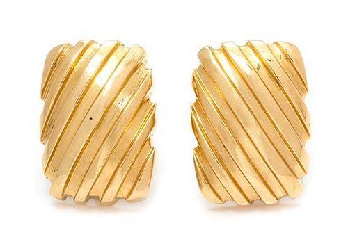 A Pair of 18 Karat Yellow Gold Earclips, 10.70 dwts.