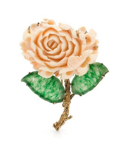 A 14 Karat Yellow Gold Coral and Jade Flower Brooch, 27.30 dwts.
