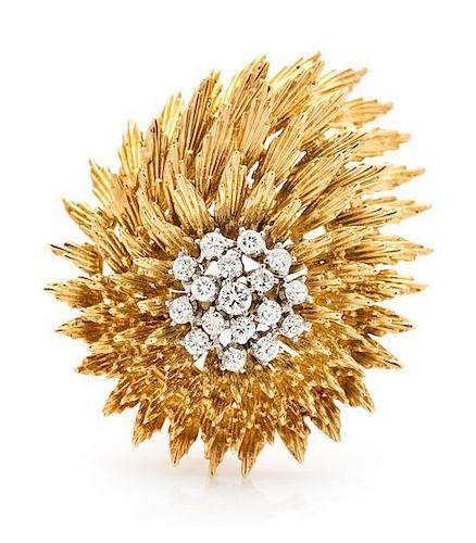 An 18 Karat Yellow and White Gold Diamond Brooch, 14.40 dwts.