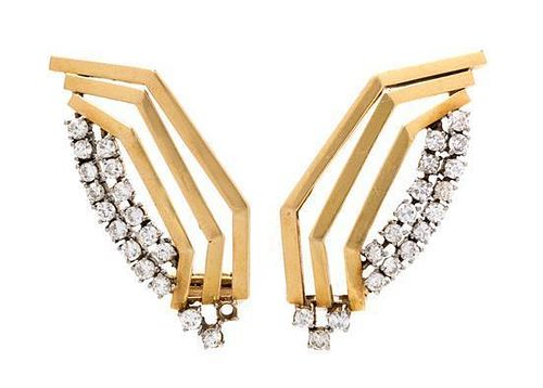 A Pair of Yellow Gold and Diamond Earclips, 9.30 dwts.