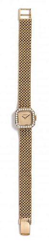 A 14 Karat Yellow Gold and Diamond Wristwatch, Cresaux, 21.00 dwts.
