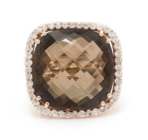 A Rose Gold, Smokey Quartz and Diamond Ring, 5.50 dwts.