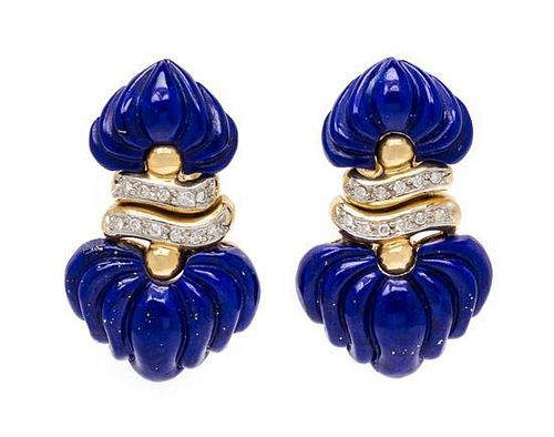 * A Pair of Yellow Gold, Lapis Lazuli and Diamond Earclips, 10.10 dwts.