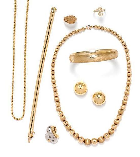 A Collection of Yellow Gold Jewelry, 39.40 dwts.
