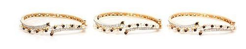 A Collection of Yellow Gold, Cultured Pearl, Diamond and Sapphire Bangles, 30.90 dwts.