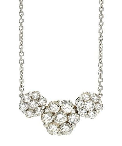 A White Gold and Diamond Pendant Necklace, 4.00 dwts.