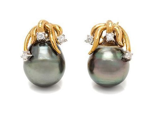 A Pair of 18 Karat Yellow Gold, Cultured Tahitian Pearl and Diamond Earclips, 8.20 dwts.