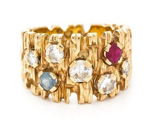 A Yellow Gold, Diamond and Multi Gem Band, 7.40 dwts.