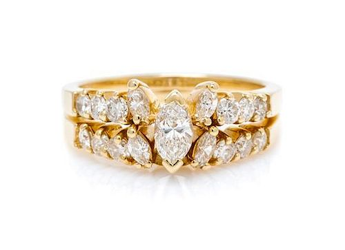 * A 14 Karat Yellow Gold and Diamond Ring Set, 3.20 dwts.