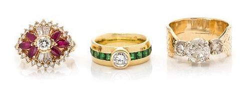 * A Collection of Yellow Gold, Diamond, Tsavorite Garnet and Ruby Rings, 17.00 dwts.