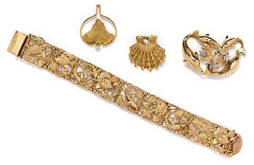 * A Collection of Yellow Gold Jewelry, 48.50 dwts.