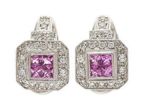 A Pair of Platinum, Pink Sapphire and Diamond Earclips, 8.90 dwts.