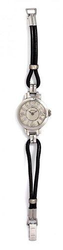 A Platinum and Diamond Wristwatch, Longines, Circa 1940, 12.90 dwts.