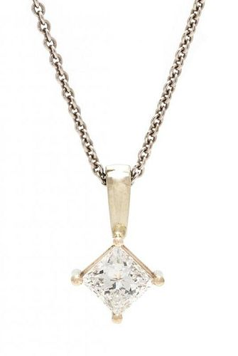 A White Gold and Diamond Pendant, 2.50 dwts
