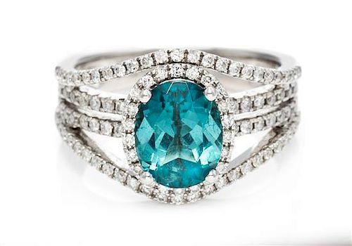 A 18 Karat White Gold, Blue Tourmaline and Diamond Ring, Le Vian, 4.30 dwts.