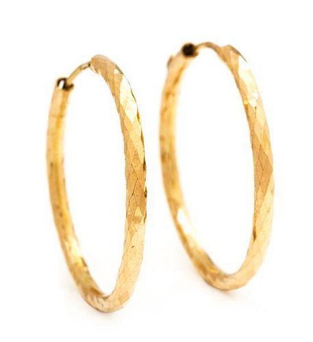 A Pair of Yellow Gold Hoop Earrings, 1.90 dwts.
