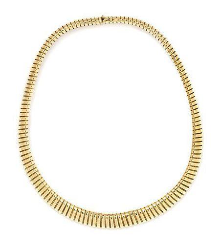 An 18 Karat Gold Tubogas Necklace, Italian, 46.00 dwts.
