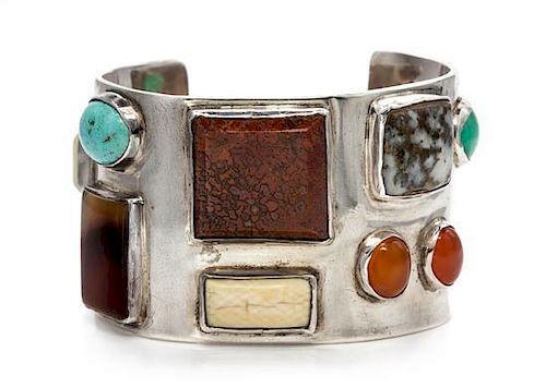 A Sterling Silver and Multigem Bracelet, Theodore Drendel, 68.90 dwts.