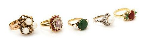 * A Collection of 18 Karat Yellow Gold and Multigem, Cultured Pearl, Jade and Diamond Rings, 22.60 dwts.