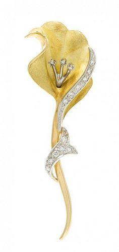 An 18 Karat Yellow Gold, Platinum and Diamond Flower Brooch, 7.60 dwts.