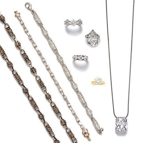 A Collection of Sterling Silver, 14 Karat White Gold, Glass and Cubic Zirconia Jewelry, 84.70 dwts.