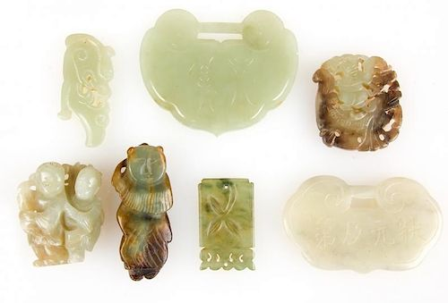 Collection of 7 Chinese Jade Carvings