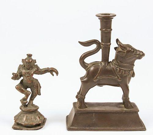 Bronze Dancing Krishna and Lamp, 19th C.