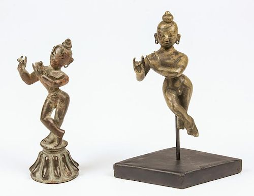 2 Bronze Krishna Statues, Ca. 1700-1750