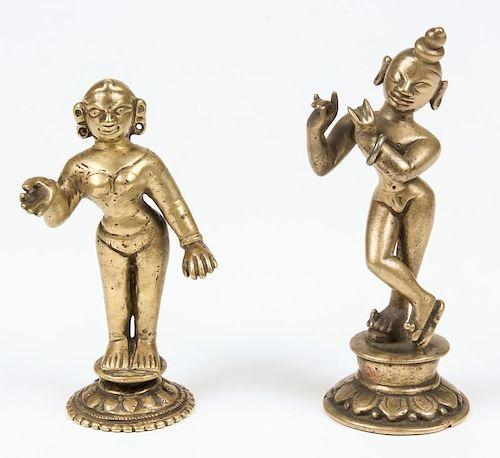Krishna and Radha Statues, Ca. 1850